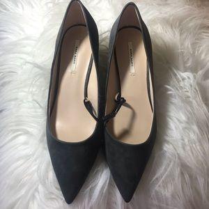 "NWT Zara Basic Grey Suede 2"" Kitten Heels"